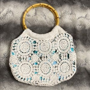 Lilu White & Blue Crotchet Bag with Bamboo Handles